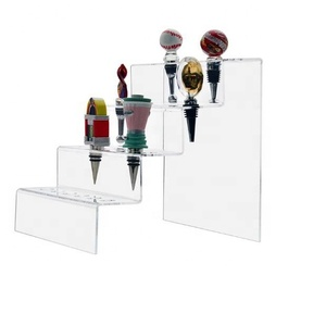 Marketing Holders Wine Bottle Stopper Display 4 layers 24 Slot Premium Clear Acrylic Rack