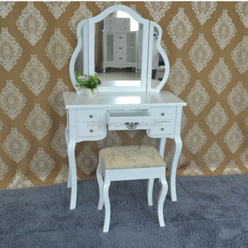 White Vanity Set Make Up Table Oval Mirr / White Dressing Table With Swing  Mirror Bedroom Furniture Shabby Vintage Style - Buy Wooden White Vanity Set  ...