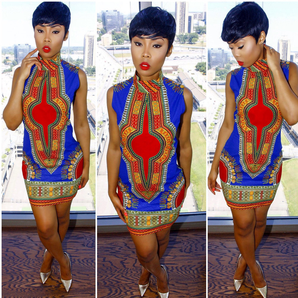 f74ff77803 2019 Wholesale 2016 New Summer Plus Size African Print Dashiki Dress ...