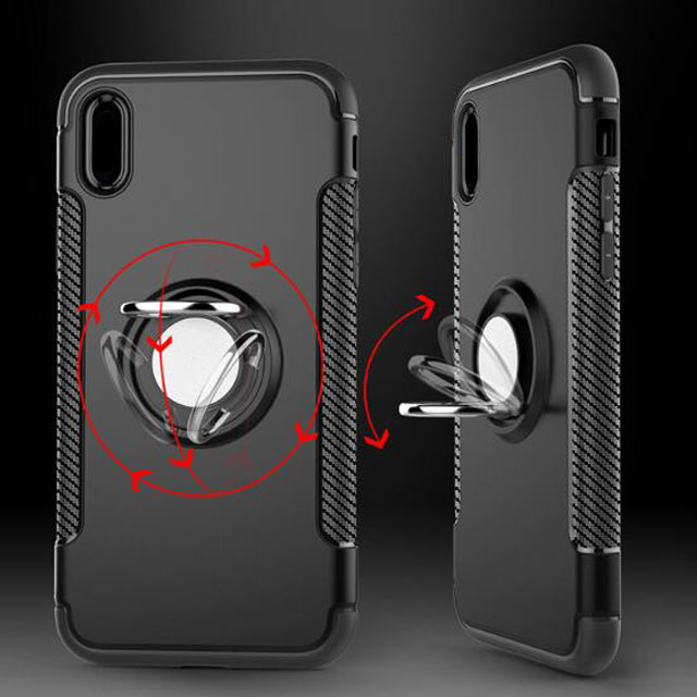 I8 Cover, 360 Magnetic Ring Holder Kickstand Absorption Armor Cell Phone Case Covers I7