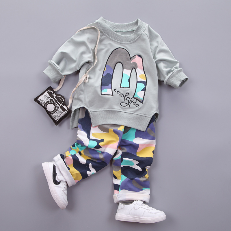 Toddler Children Fall 2017 Baby Clothes Set Children Cotton Long Sleeve T-shirt + Camo Pants Casual Clothing Suit