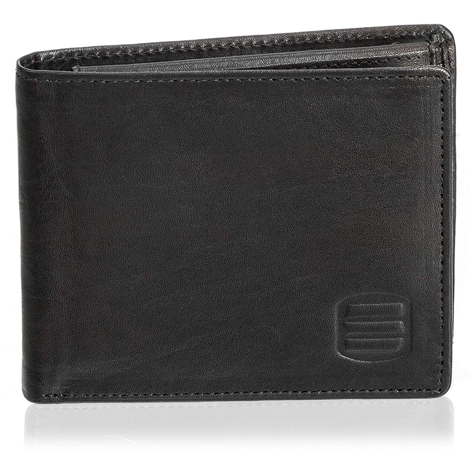 Suvelle Men's Slim Genuine Leather Bifold Removable Flipout ID Window Passcase Wallet Extra Capacity W055