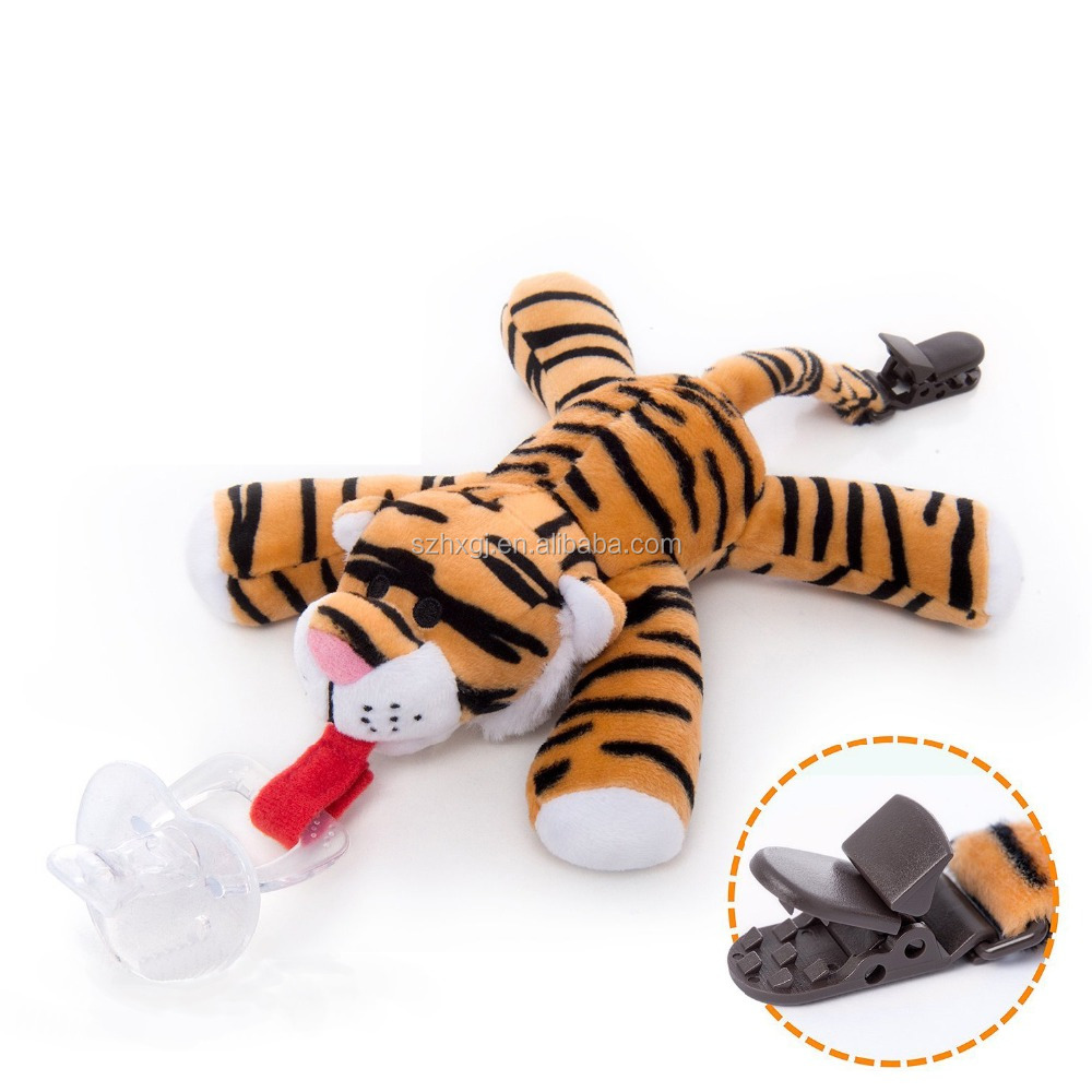 Infant tiger soft Plush Toy Pacifier with clip