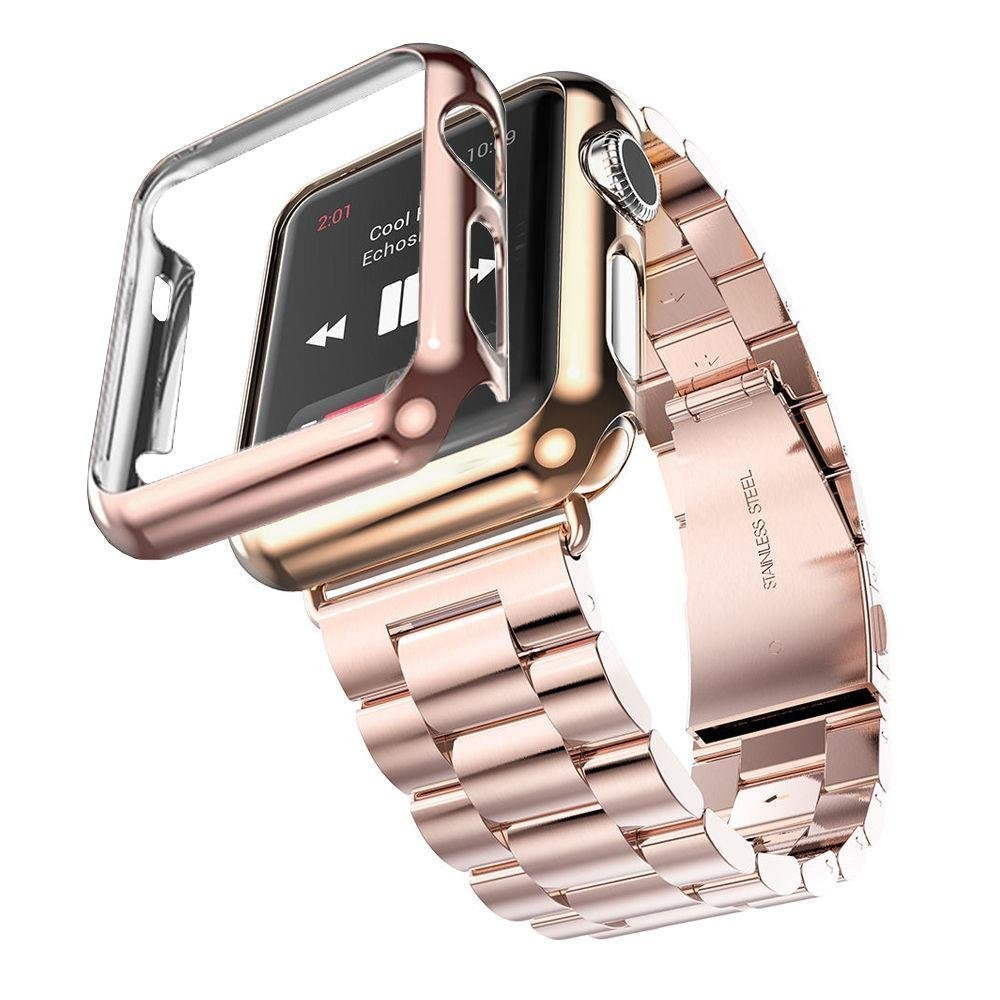 Apple Watch Band with Plated Protect Case, NUJIA Solid Stainless Steel Watch Strap, Metal Replacement Wrist Band with Classic Buckle fits Apple Watch, Sport & Edition (Rose Gold 3-Chain 42mm)