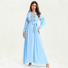 New arrival wholesale islamic clothing ics silk arabic abaya designs light blue embroidery abaya muslim long sleeve long dress