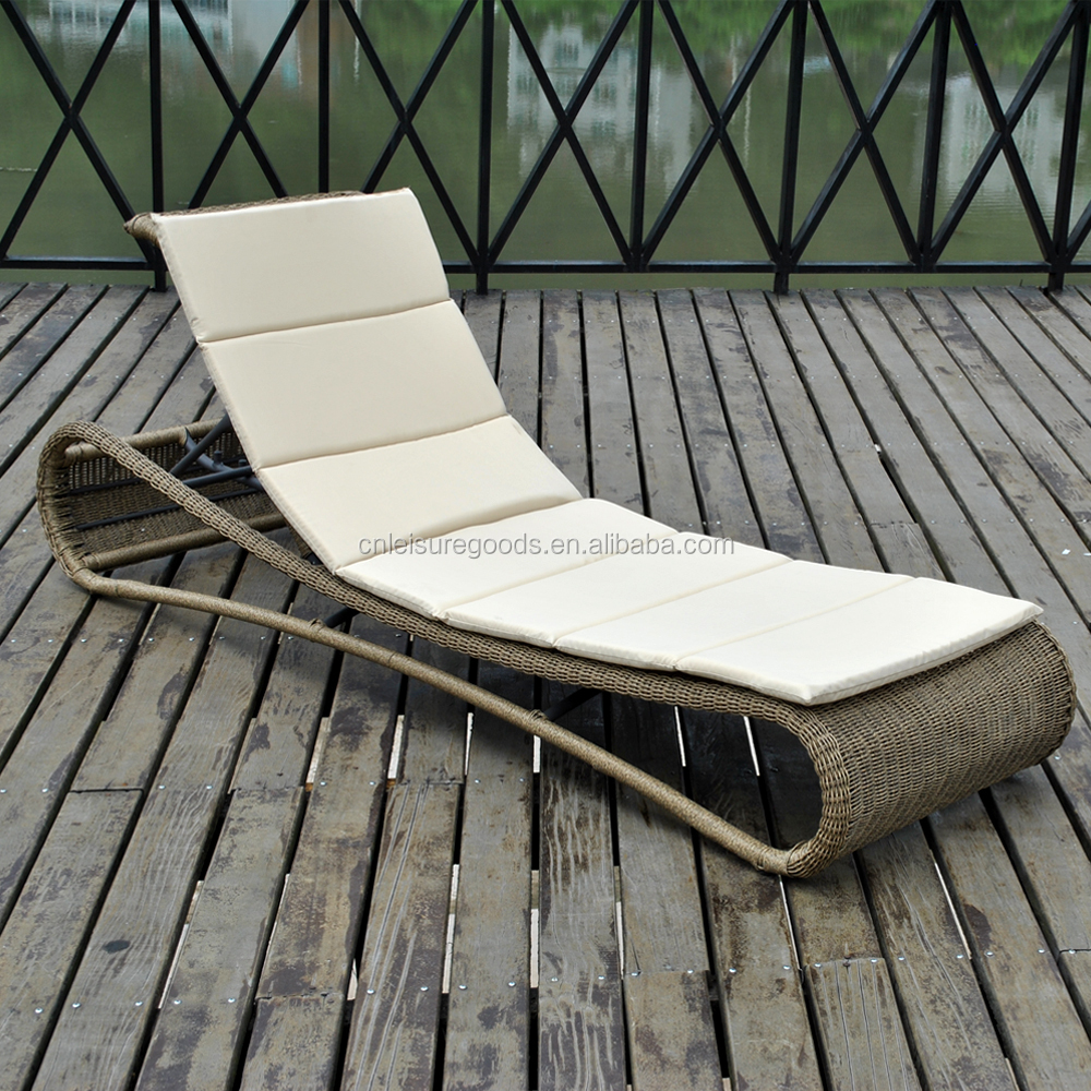 outdoor poolside wicker rattan sun lounger