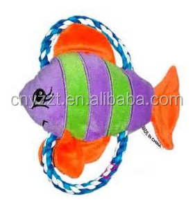 high quality fish shape Plush squeaky Dog Toy / plush fish shape chew rope pet toys for cat