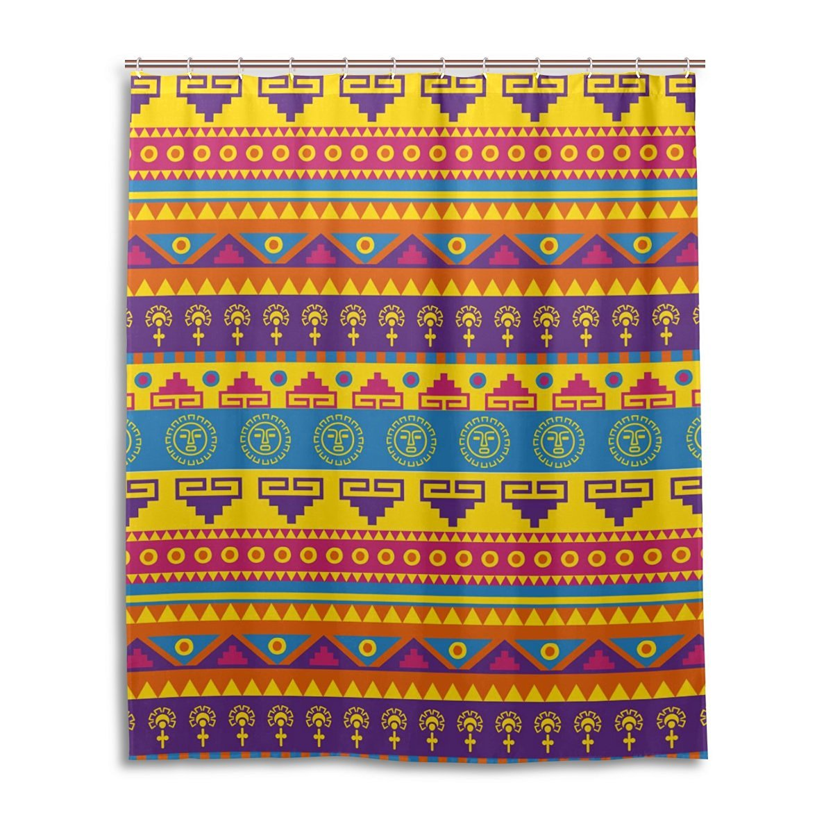 JSTEL Decor Shower Curtain Mexican Pattern Print 100 Polyester Fabric 60 X 72