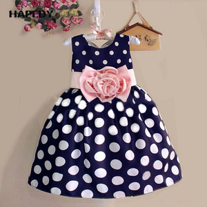 Summer White And Blue Polka Dot Party Girls Bow Tie Cocktail Dress
