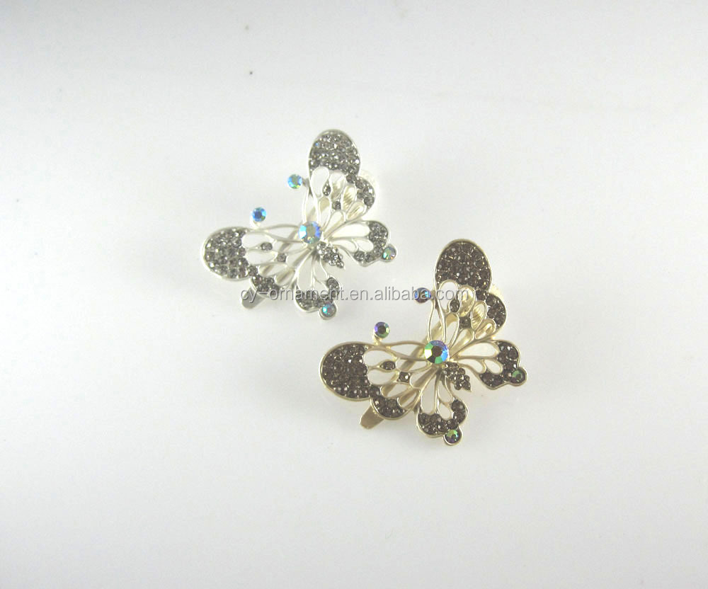 Butterfly rhinestone hair claw jaw clip,fashion women custom shape hair grip accessory ornament
