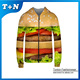 Polyester Cotton Full Zipper Pullover Hoodie Men's Custom Sublimation Sweatshirt