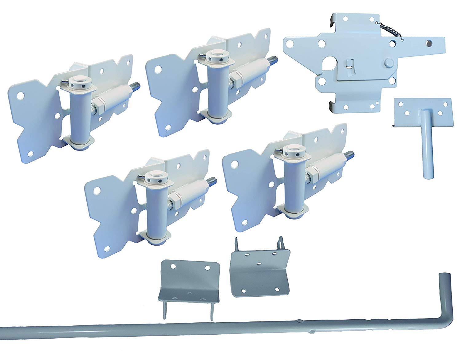 Vinyl Fence Gate Double Gate Hardware Kit White (for Vinyl, PVC etc Fencing) - Double Fence Gate Kit has 4 Hinges, 1 Latch, and 1 Drop Rod