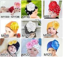 cotton Baby girls Big Floral Beanie dot boys cap chapeu bebes hat D4