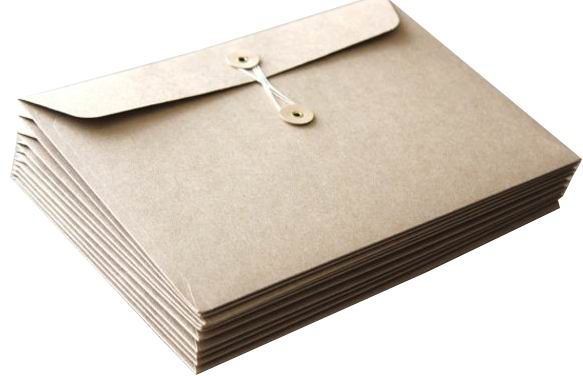 Economic office documents string and button kraft envelope sleeve