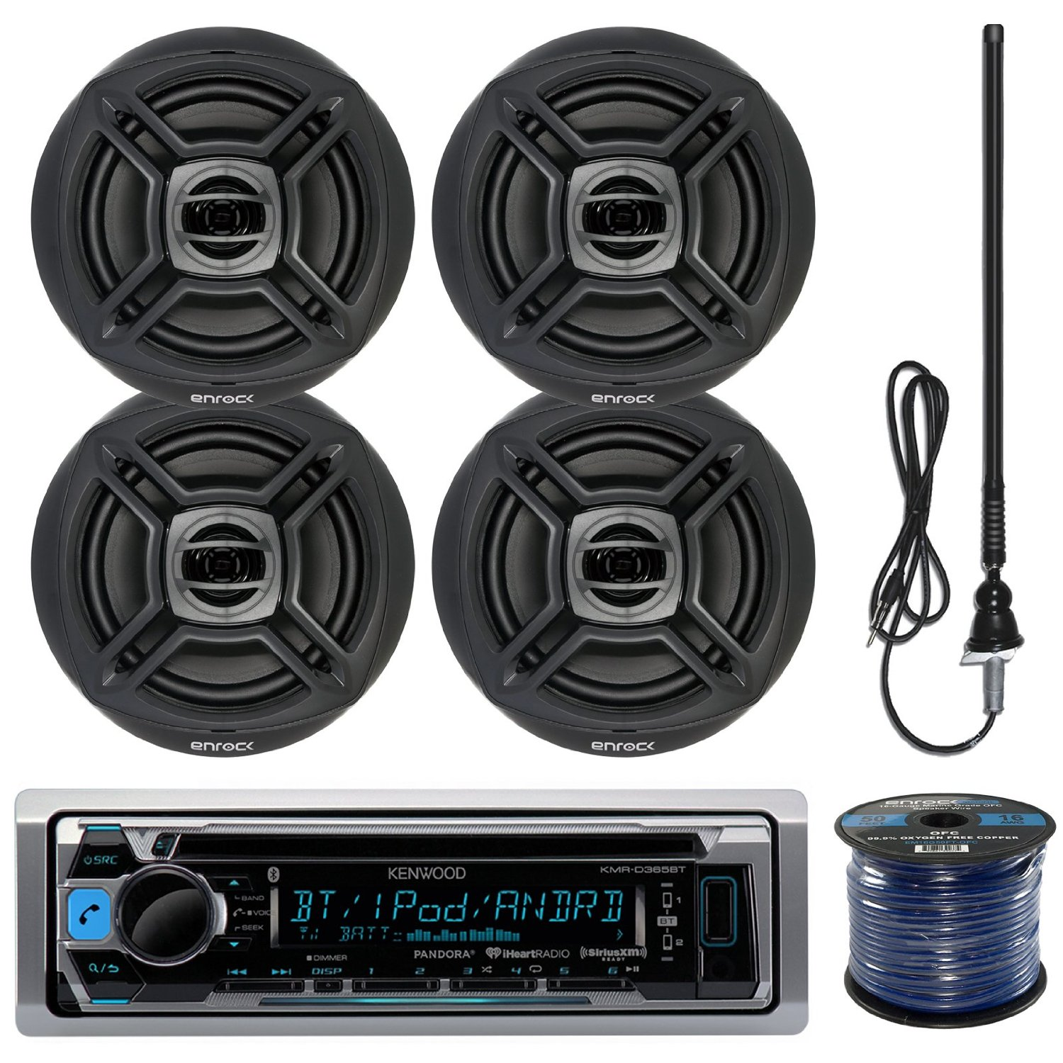 "Kenwood KMR-D365BT Marine Boat Outdoor Bluetooth CD MP3 USB/AUX iPod iPhone Stereo Receiver 4X 6.5"" Inch Dual Cone Enrock Marine Waterproof Speakers 50 Ft Marine Speaker Wire + Antenna (Black)"
