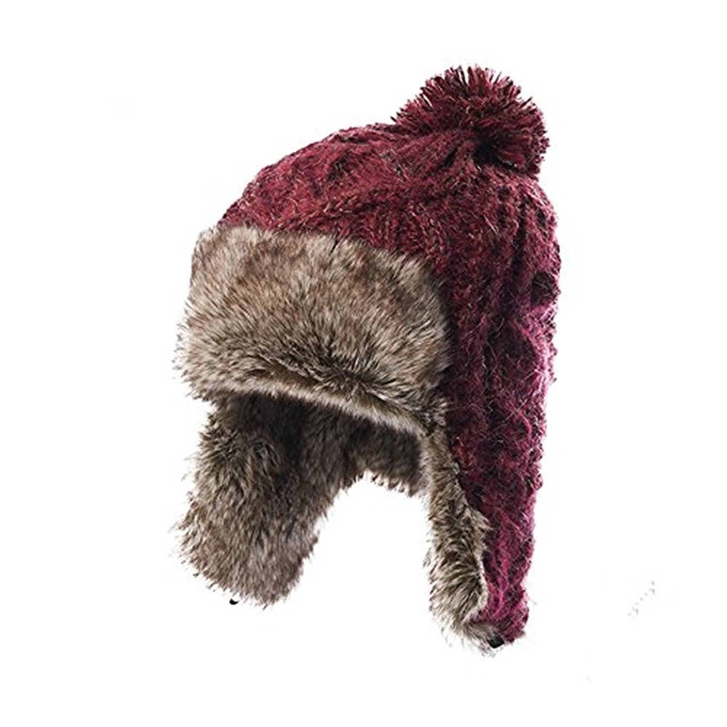 bc7cfea97d257 Get Quotations · misslight Winter Hemming Warm Knit Hat Pom Pom Beanie Fur  Raccoon Hairball Cap Winter Hemming Warm