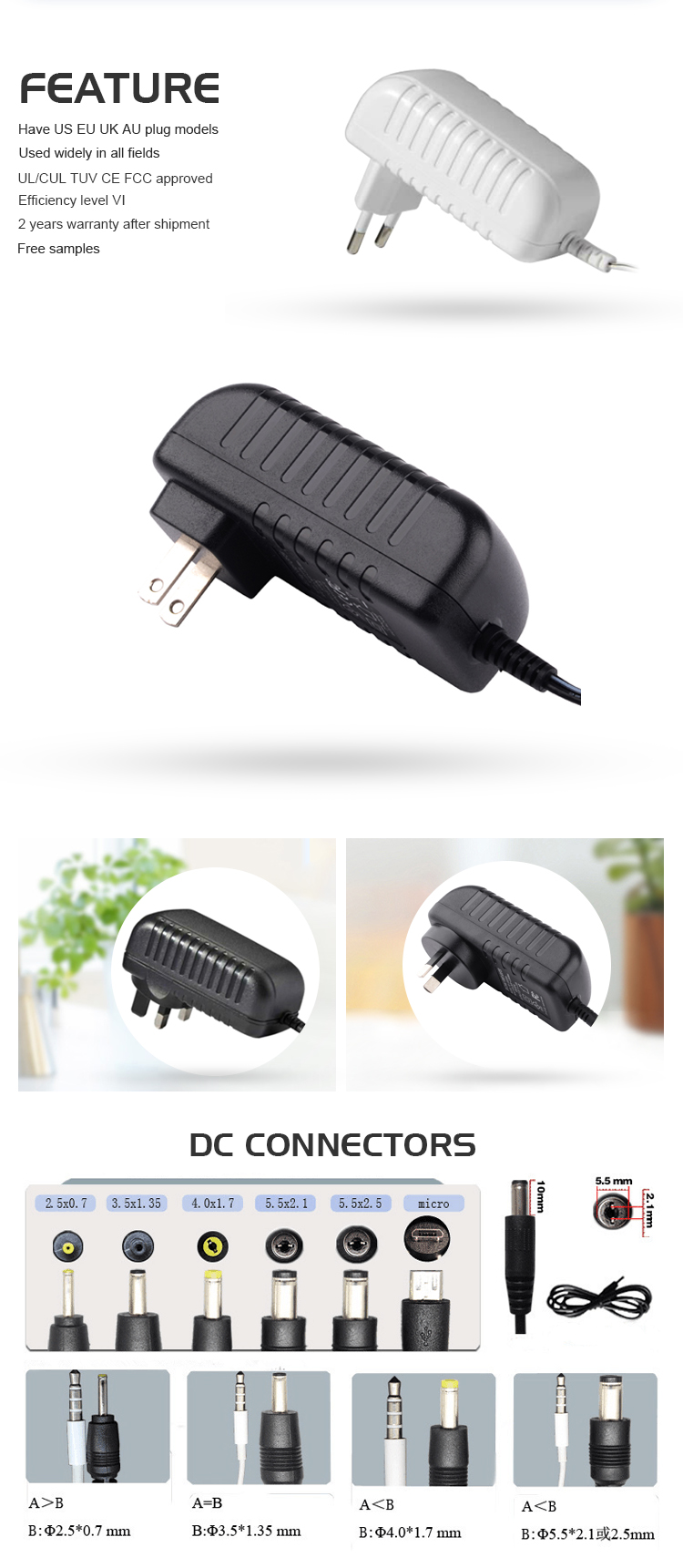 10v 2a dc adapter with UL/CUL TUV CE FCC PSE ROHS CB SAA C-tick BIS level VI, 2 years warranty