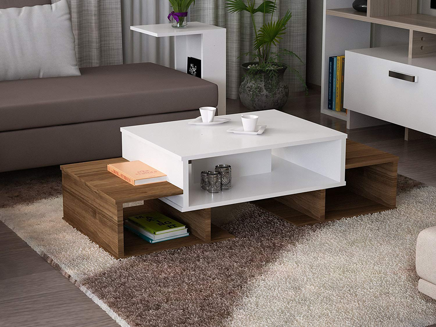 LaModaHome Modern Style Coffee Table Brown-White Modern Coffee Table Wooden Resistant Table Cocktail Table with Storage Best Choice For Quality For Home, Office, Living Room and More