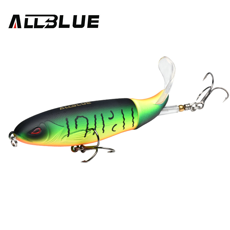 AllBlue New Topwater Whopper Popper Fishing Lure 19g 11cm Artificial Bait Hard Fishing Plopper Soft Rotating Tail Fishing Tackle, 8 colors