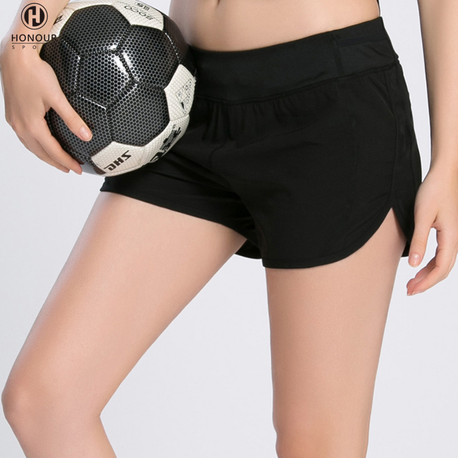 High Quality Womens Professional Quick-drying Black Lined Sports Running Training Short Shorts