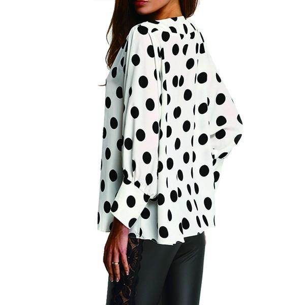 blouse zwart witte stippen