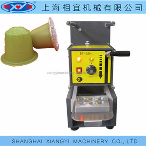 Semi Automatic Electric driven small plastic cup coffee capsule sealing machine.
