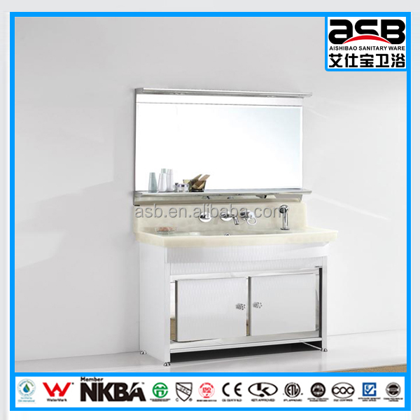 big wash basin Stainless Steel tall mirror 72 inch bathroom cabinet