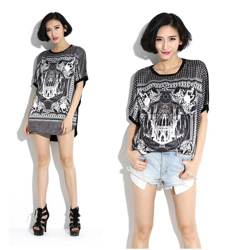 1c5e53f0fd1b53 2015 NEW Women Summer Batwings sleeve Vintage Printed Modal Long length T shirt  loose casual O neck blouse tops Tees vestido