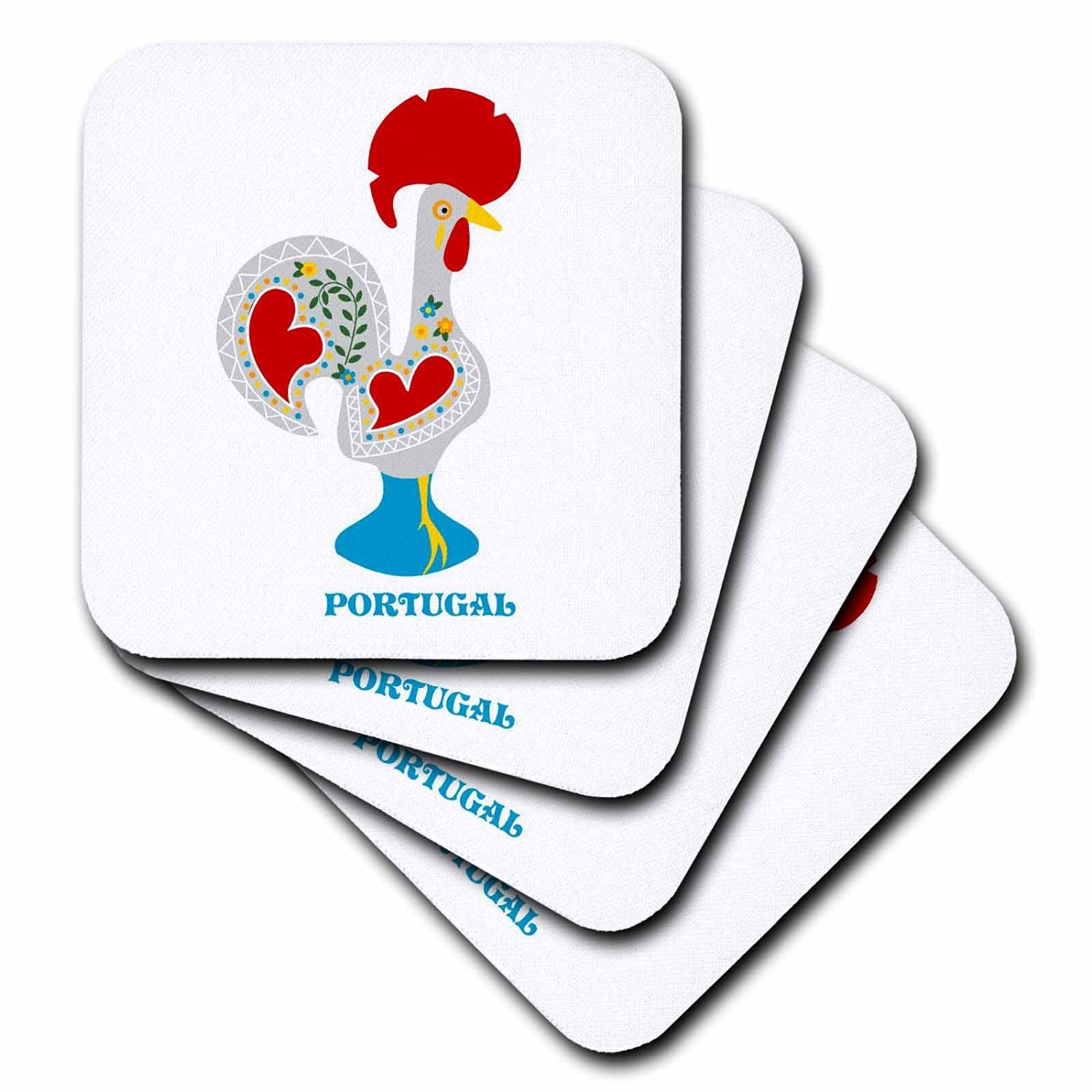 3dRose cst_160671_3 The White Portuguese Rooster or Galo De Barcelo's-Ceramic Tile Coasters, Set of 4