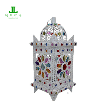 Vintage Style White Painted Moroccan Table Lamp Lantern For Home Deco