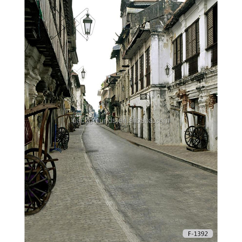 Chinese historical site style ancient jinrikisha street background for studio scenic / photography studio backdrop
