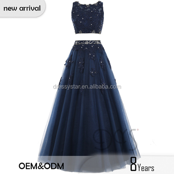 8a7452ea71 Sexy Two Piece Navy Puffy Lace Appliqued Beading Evening Prom Dress ...