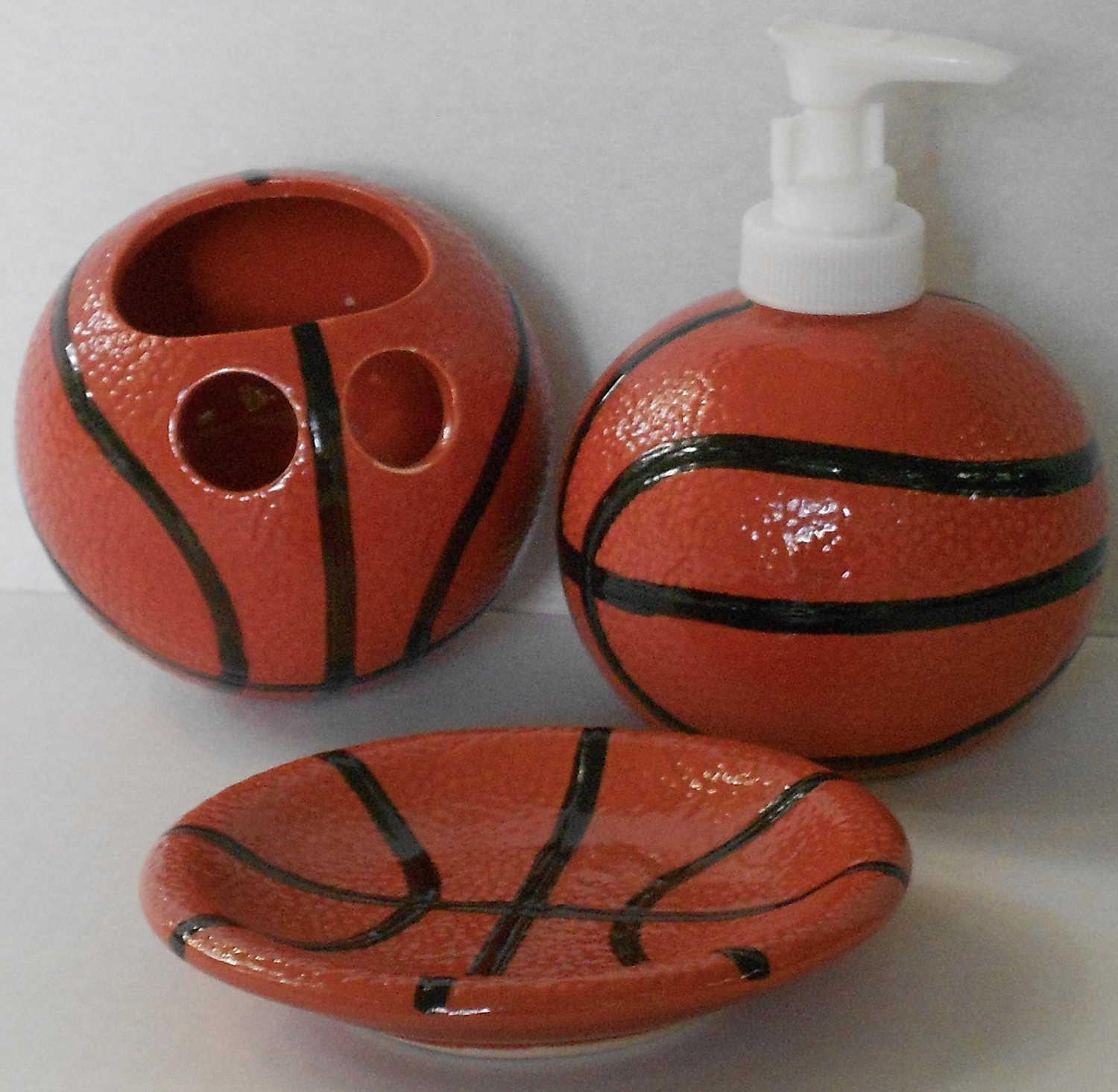 Get Quotations · Sports Themed 3 Piece Stoneware Bathroom Accessories  Bundle (Basketball)