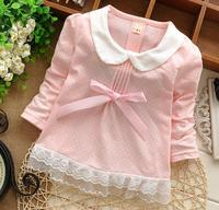 Alibaba fashion kids clothes autumn/winter long sleeve lovely bowknot children tops girl's fancy t-shirt