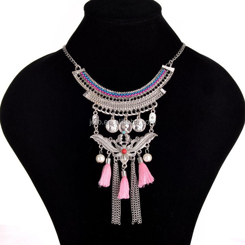 3XC-024 Statement Necklace Jewelry Alibaba Rice Pearls Pink Silk Tassel Necklace