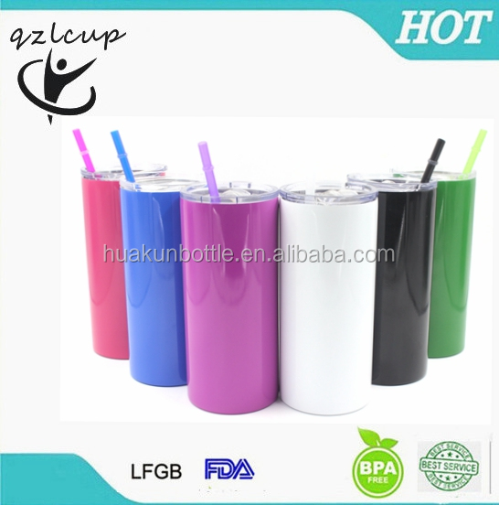 2017 hot new products double wall stainless steel skinny tumbler with straw and lid 20 oz vacuum insulated bottle