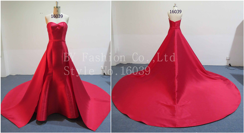 2017 Elegant strapless wedding dress for women belt zip up satin evening dress