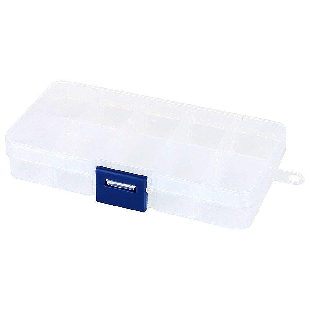 Plastic Jewelry Organizer, 10-Grids Small Storage Box With Movable Dividers Bead Containers - Adjustable Clear Compartment Earring Container Case - Travel Earrings Boxes For Beads, Rings, Necklace