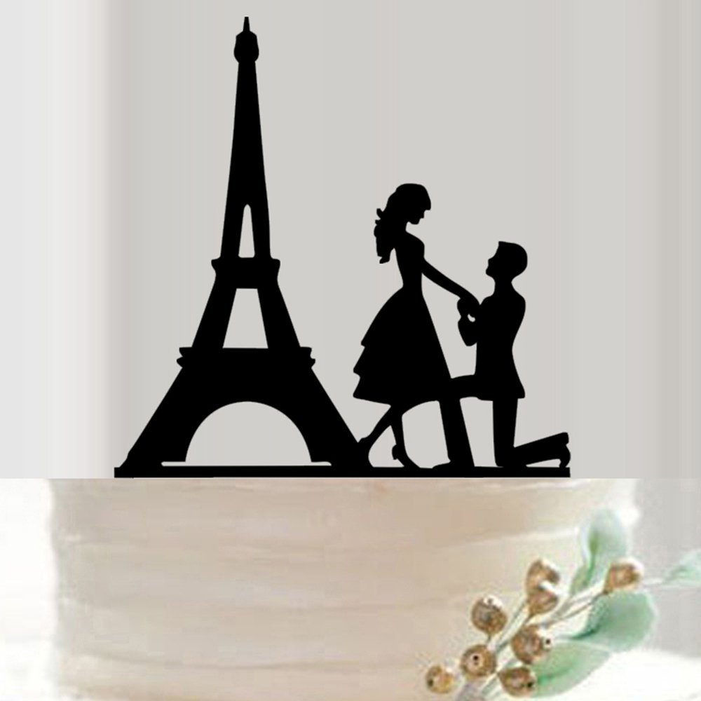 Mr and Mrs Cake Topper Acrylic Wedding Cake Topper Funny Bride and Groom with Paris'Tower Cake Topper