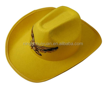 Yellow Felt Cowboy Hat With Eagle Pattern - Buy Funny Cowboy Hat ... a2439b48e7d