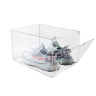 2019 clear acrylic cube boxes with lid for shoes display acrylic shoe risers