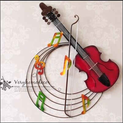 Iron Home Decoration Creative Wall Hangings Violin Mural Bar Cafe Music Vintage Home Decor Living Room Metal Wall Art