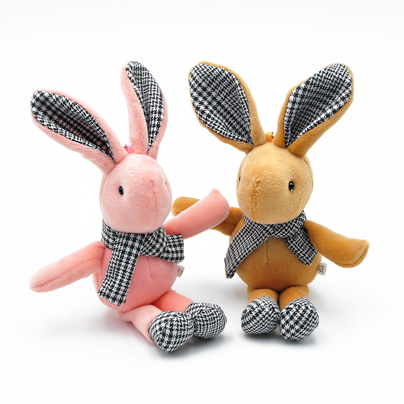 Custom Cheap Soft Animal Toys Cute Plush <strong>Rabbits</strong> Stuffed Keychains With Scarf