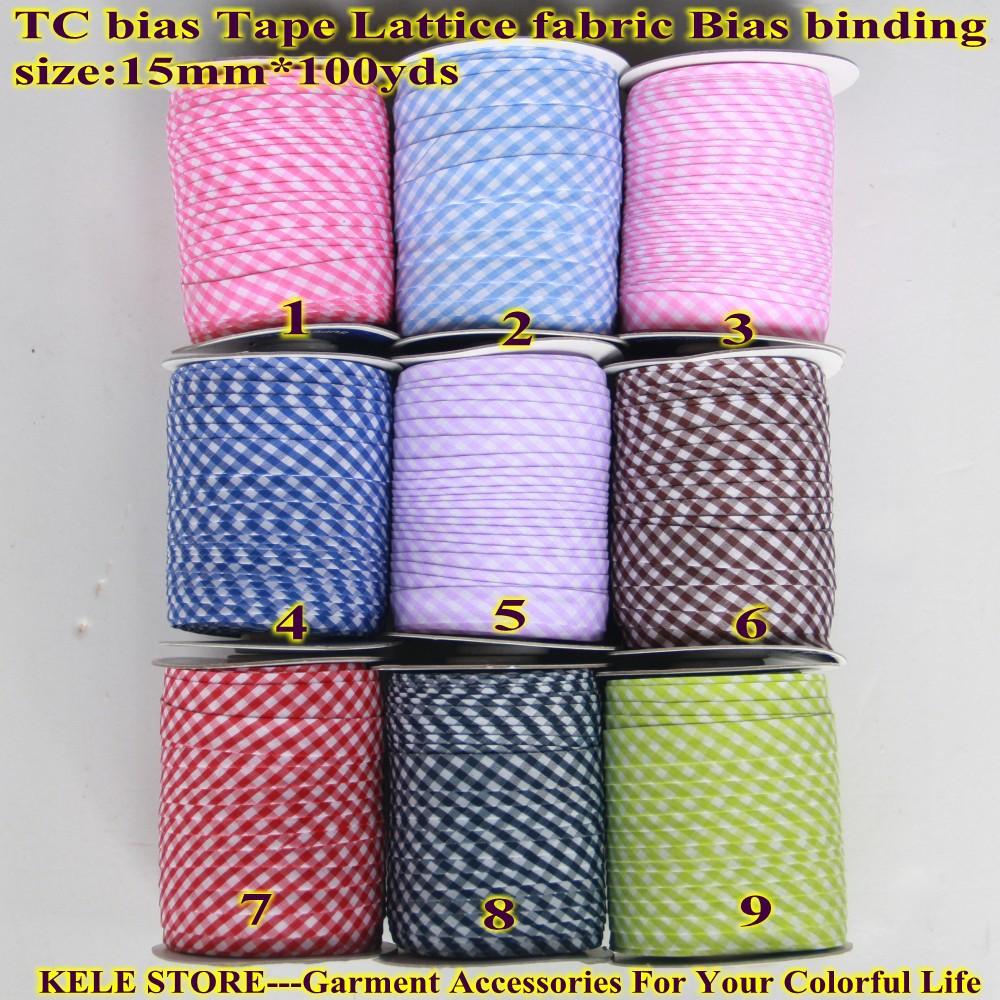 Free Shipping T/C Scotch Bias Binding Tape Lattice Fabric