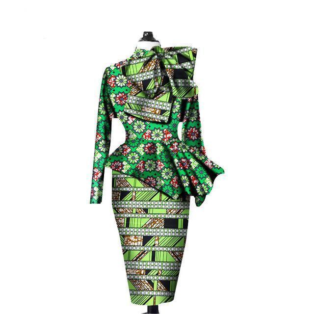アフリカのファッション最新デザインツーピースフリルアンカラ生地ロングパーティードレス