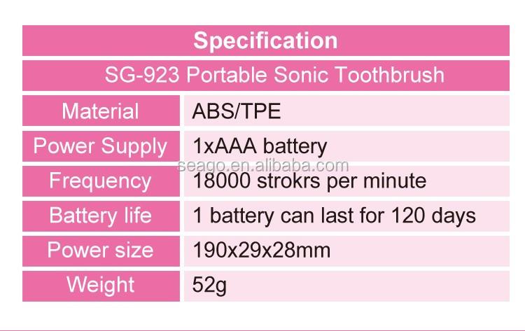 998adede23c1 Mini travel portable sonic toothbrush SG923, View Mini sonic toothbrush,  seago Product Details from Ningbo Seago Electric Co., Ltd. on Alibaba.com