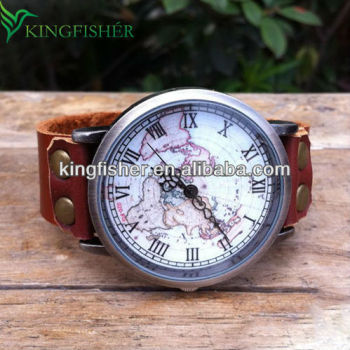 Vintage style old world map face big watch for man quartz movement vintage style old world map face big watch for man quartz movement gumiabroncs
