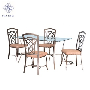 Metal Dining Table Sets 5PCS Glass Top/Wood Top Table Fabric Upholstery Side Chair Dining Room Table Set