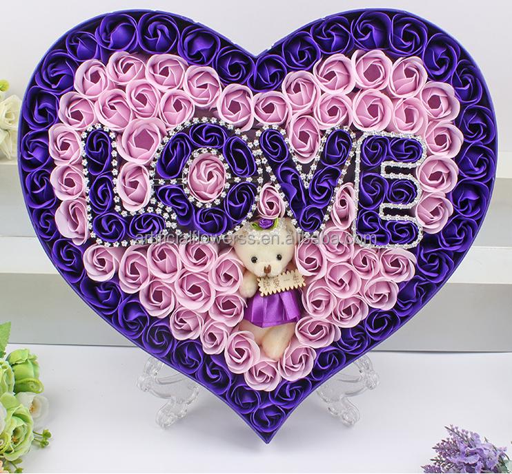 Artificielle en forme de coeur rose savon fleur avec teddy bear id de produi - Fleur en forme de coeur ...