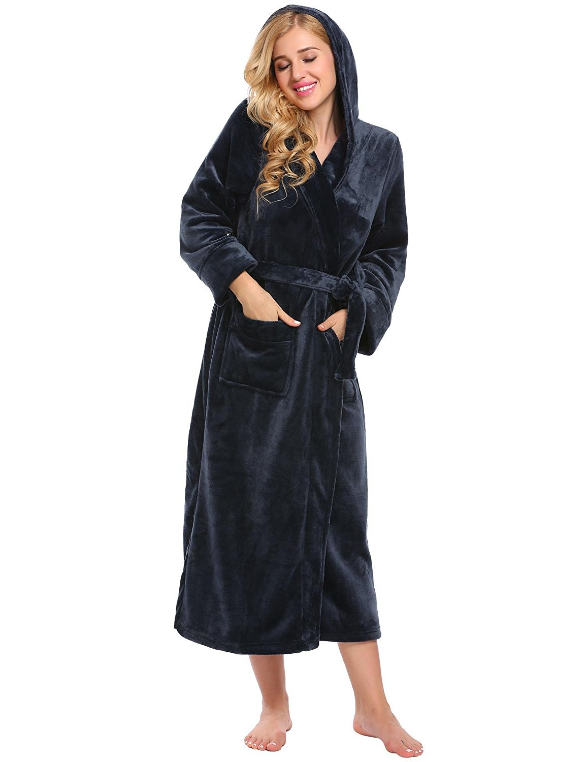 2317d257c7 Get Quotations · Corgy Women Hooded Long Sleeve Kimono Robe Bath Robes for  Women